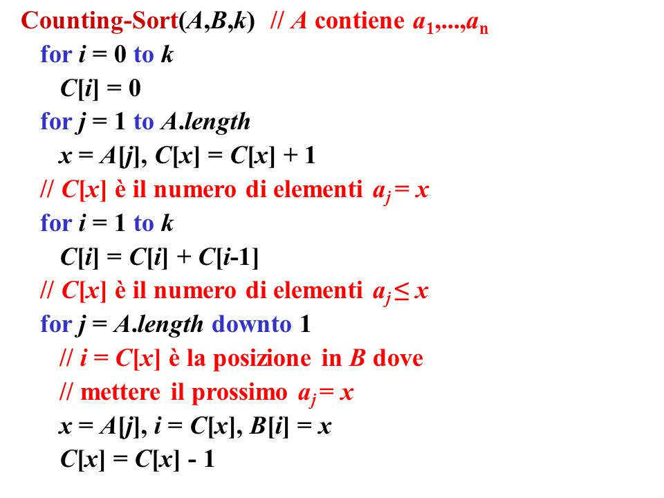 Counting-Sort(A,B,k) // A contiene a1,...,an