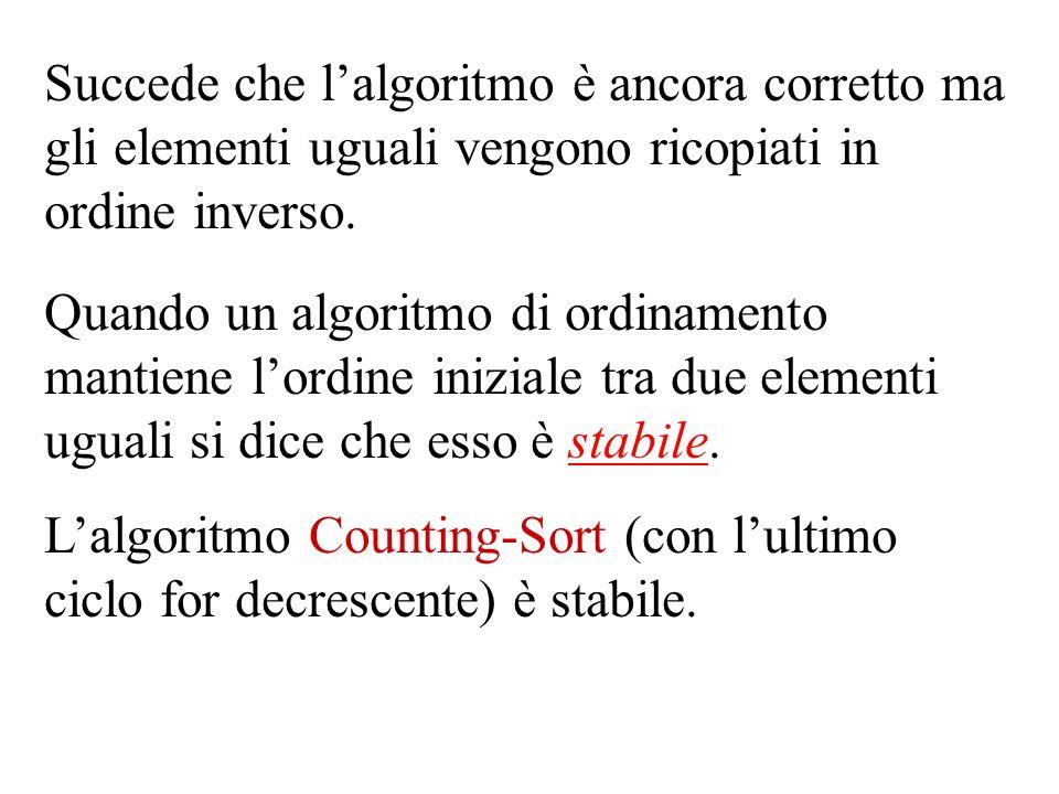 Succede che l'algoritmo è ancora corretto ma gli elementi uguali vengono ricopiati in ordine inverso.
