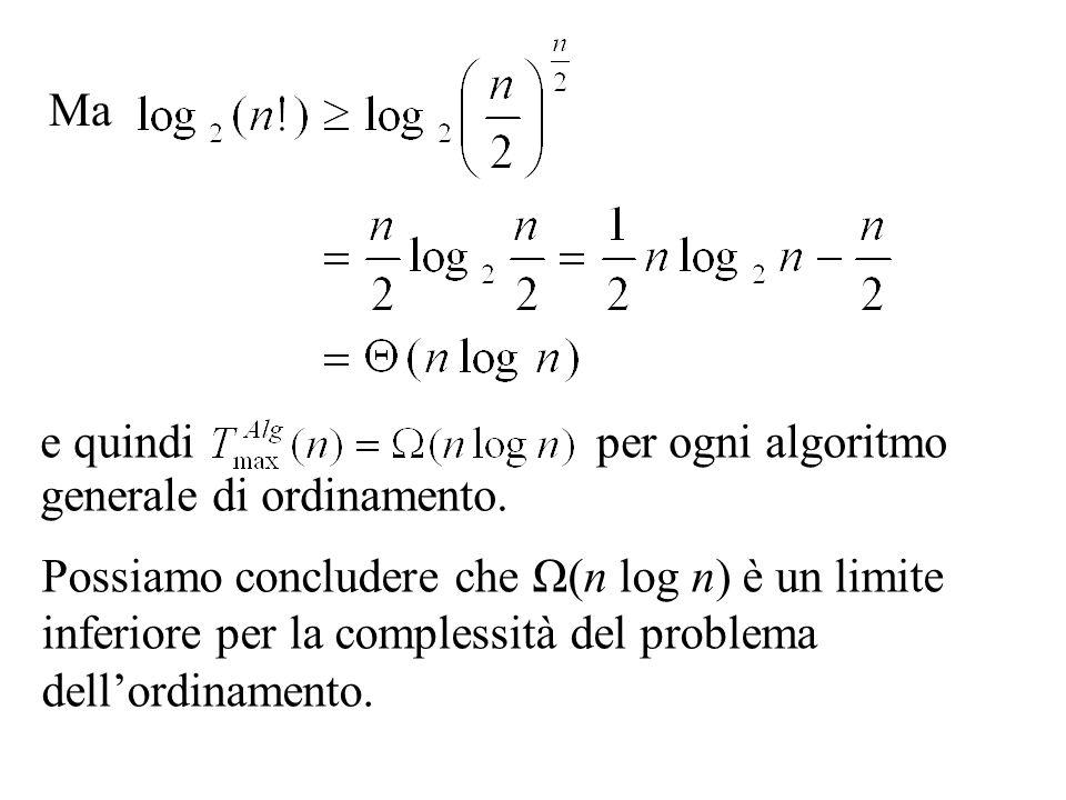 Ma e quindi per ogni algoritmo generale di ordinamento.