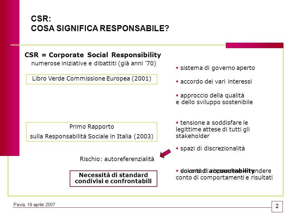 CSR: COSA SIGNIFICA RESPONSABILE