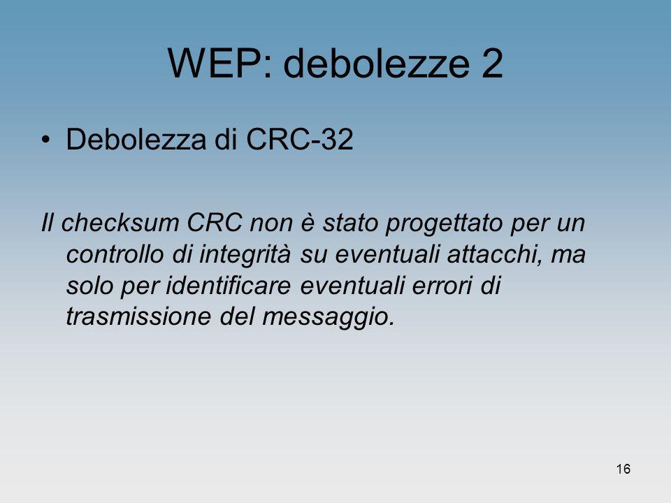 WEP: debolezze 2 Debolezza di CRC-32
