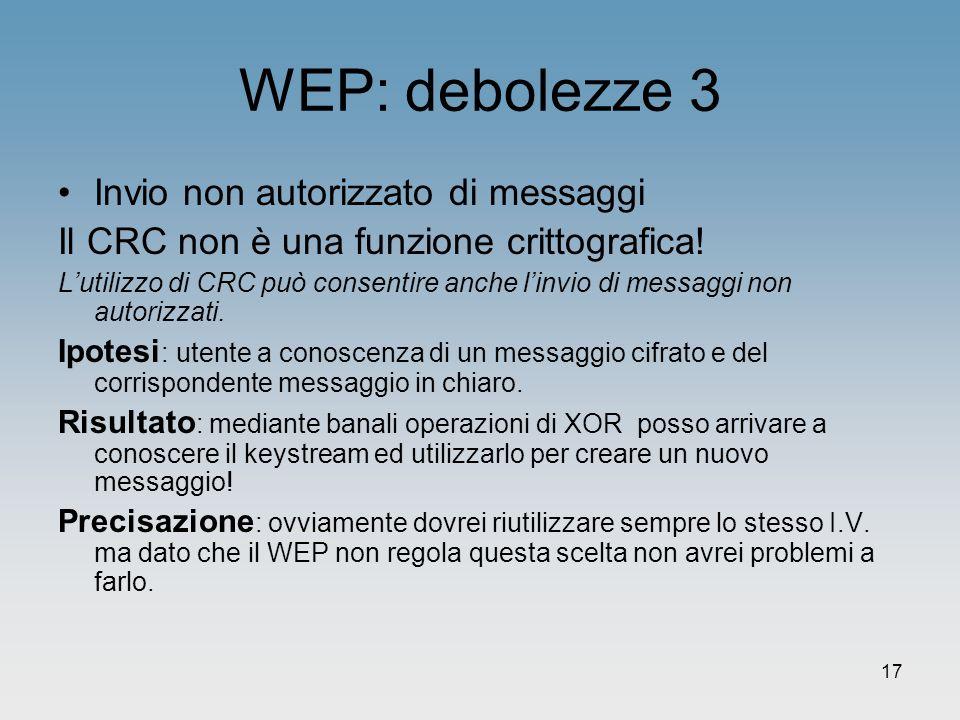WEP: debolezze 3 Invio non autorizzato di messaggi