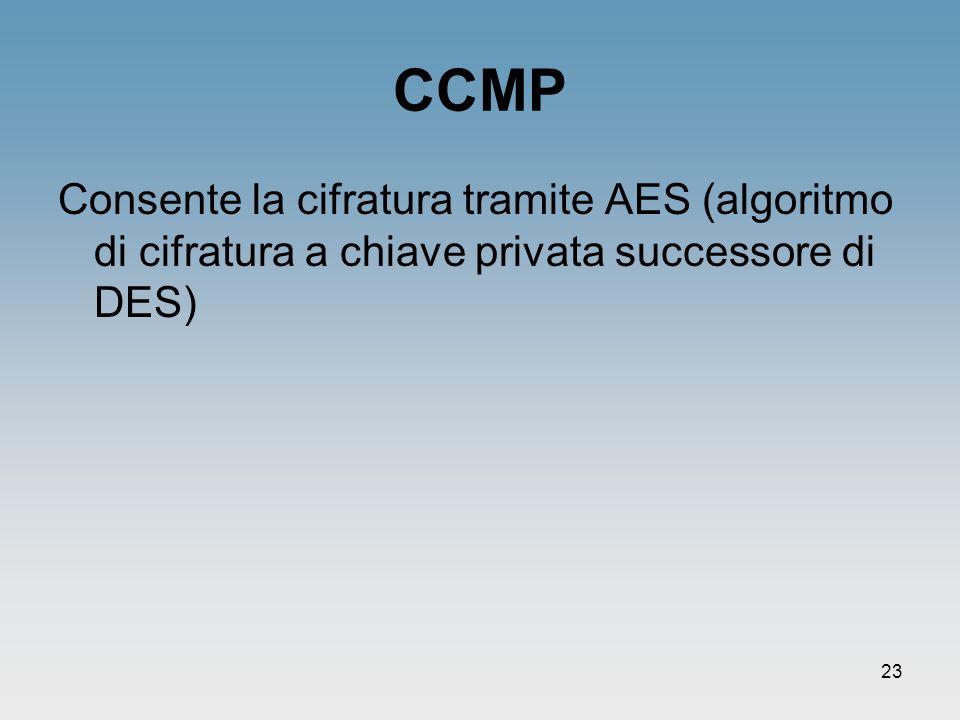 CCMP Consente la cifratura tramite AES (algoritmo di cifratura a chiave privata successore di DES)