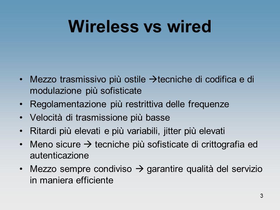 Wireless vs wired Mezzo trasmissivo più ostile tecniche di codifica e di modulazione più sofisticate.