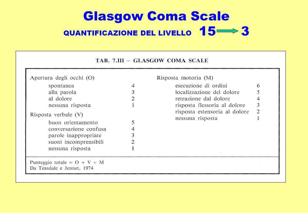 Glasgow Coma Scale QUANTIFICAZIONE DEL LIVELLO 15 3