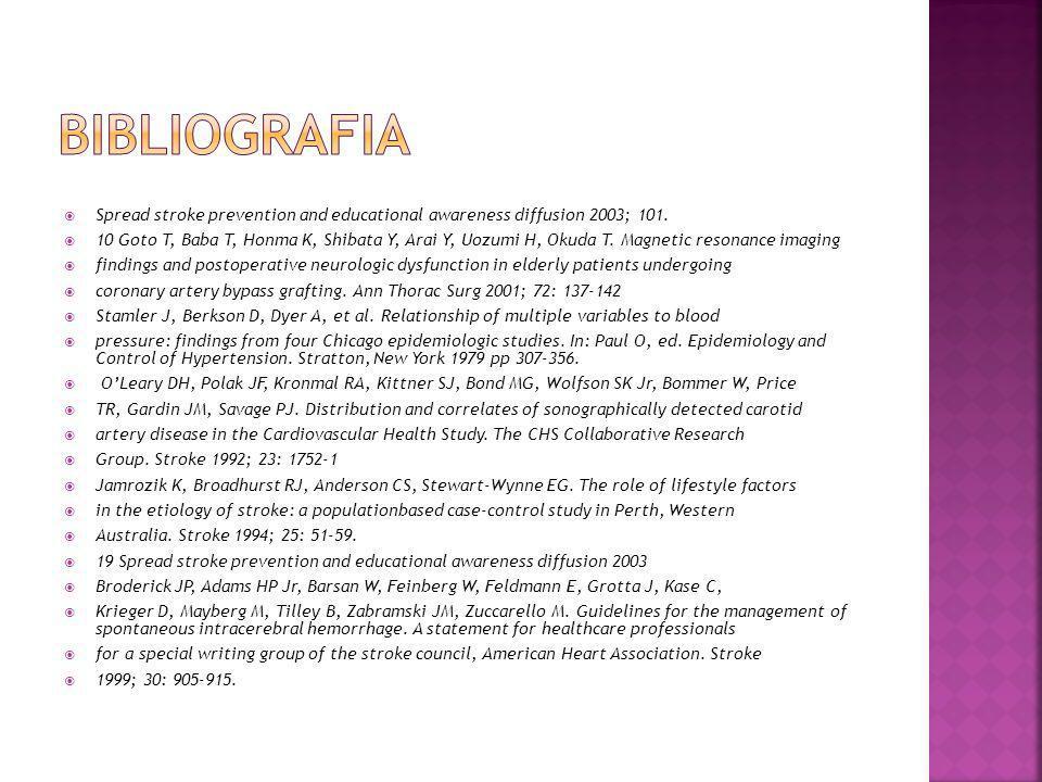 bibliografia Spread stroke prevention and educational awareness diffusion 2003; 101.
