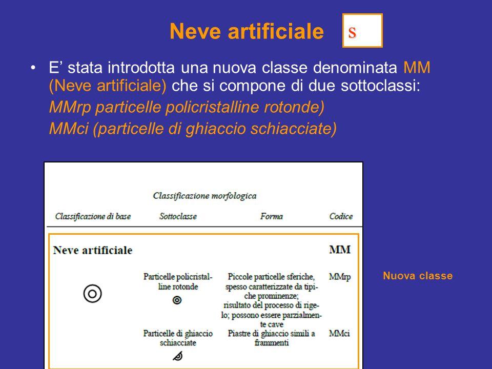 Neve artificiale s. E' stata introdotta una nuova classe denominata MM (Neve artificiale) che si compone di due sottoclassi:
