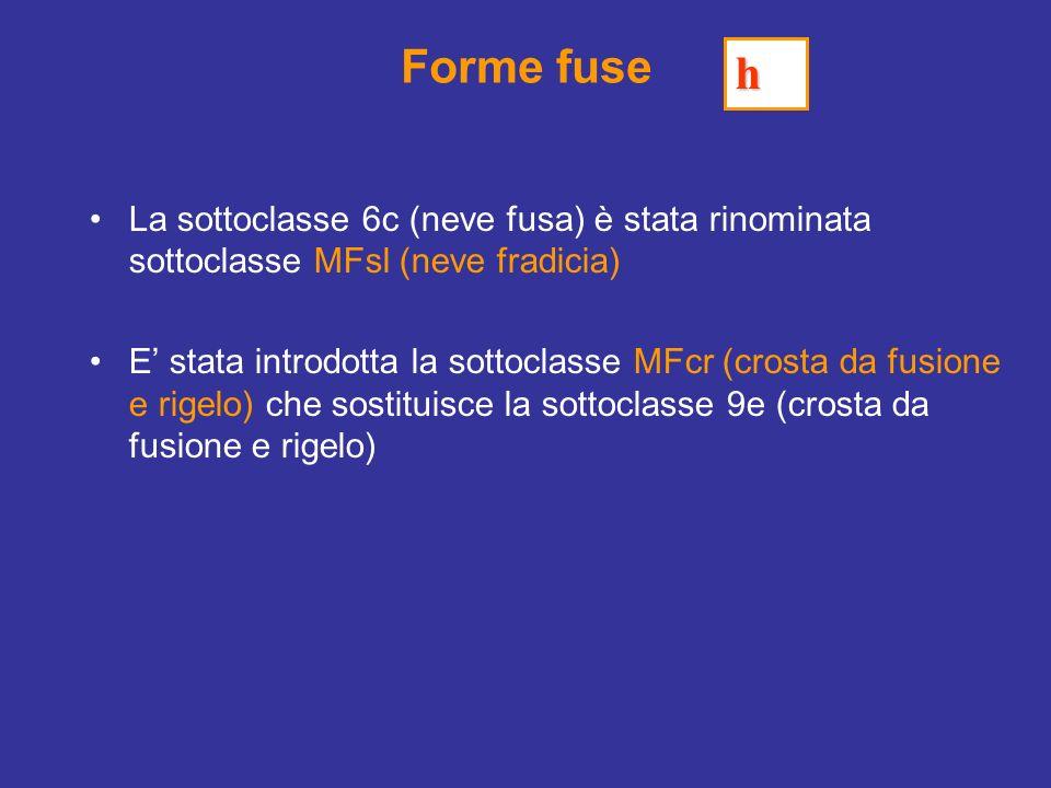 Forme fuse h. La sottoclasse 6c (neve fusa) è stata rinominata sottoclasse MFsl (neve fradicia)