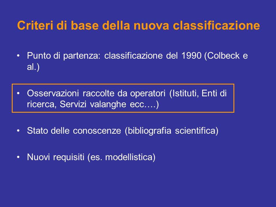 Criteri di base della nuova classificazione