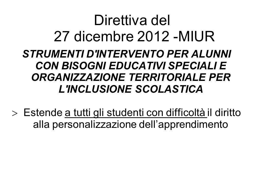 Direttiva del 27 dicembre 2012 -MIUR