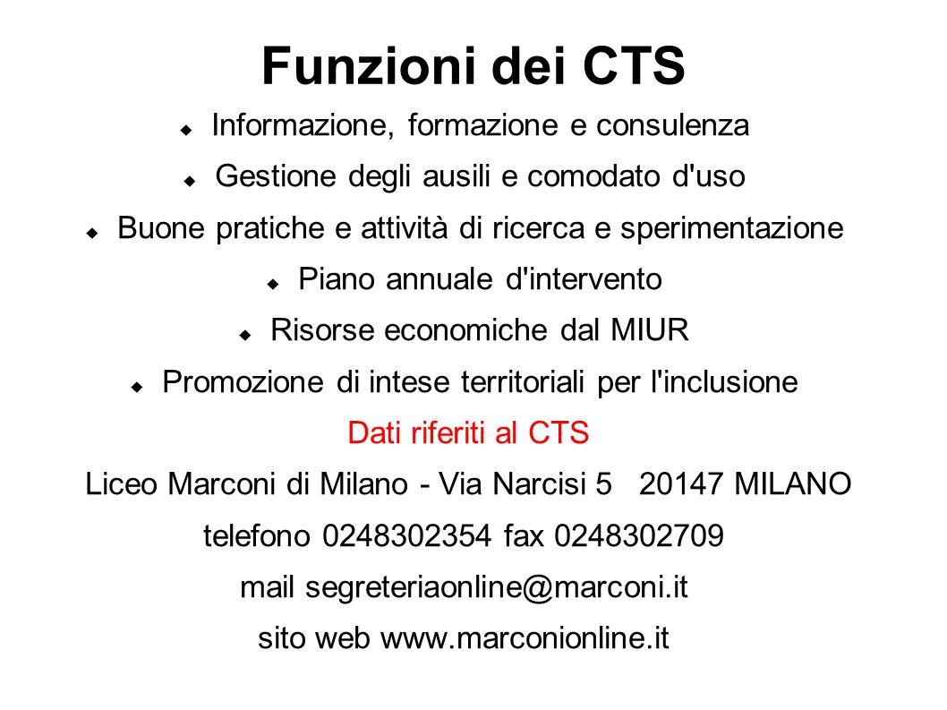 Funzioni dei CTS Informazione, formazione e consulenza