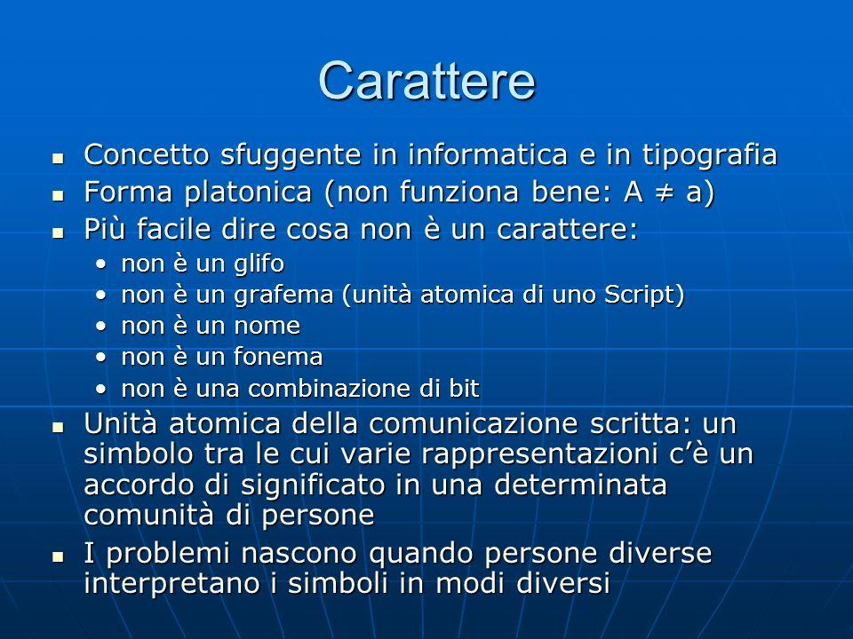 Carattere Concetto sfuggente in informatica e in tipografia