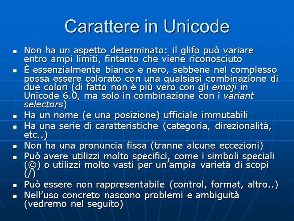 Carattere in Unicode Non ha un aspetto determinato: il glifo può variare entro ampi limiti, fintanto che viene riconosciuto.