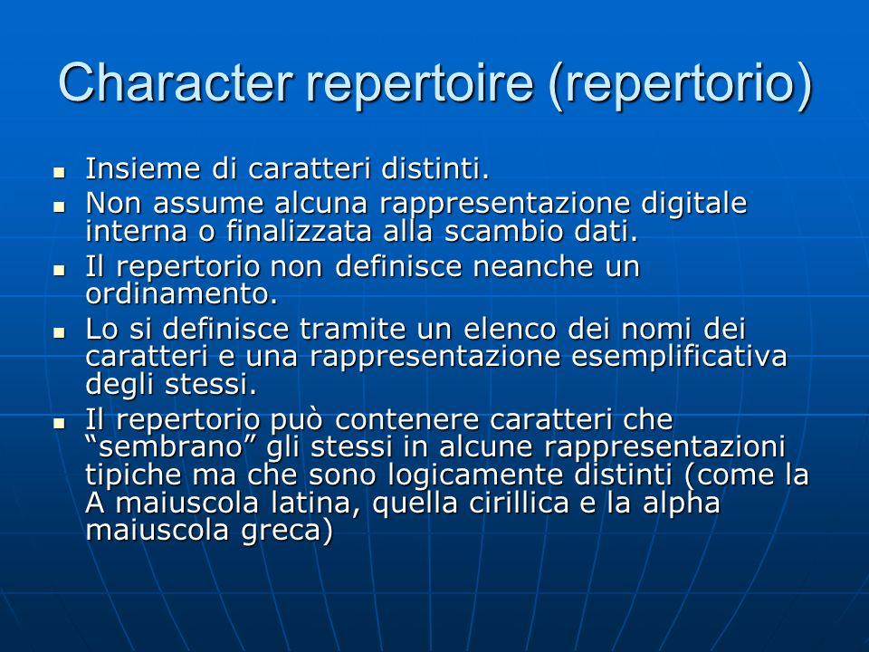 Character repertoire (repertorio)