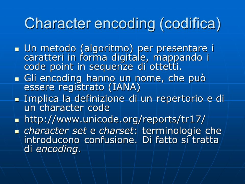 Character encoding (codifica)