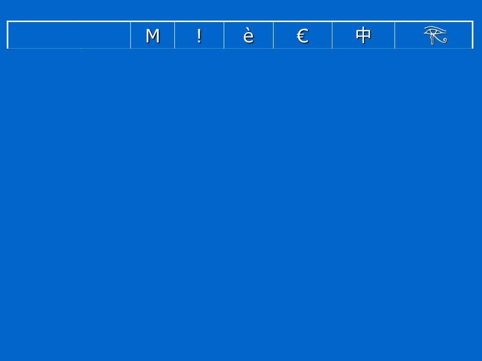 M ! è € 中 ASCII Latin1 Windows 1252 GB 2312 Unicode 77 33 4D 21 232 E8