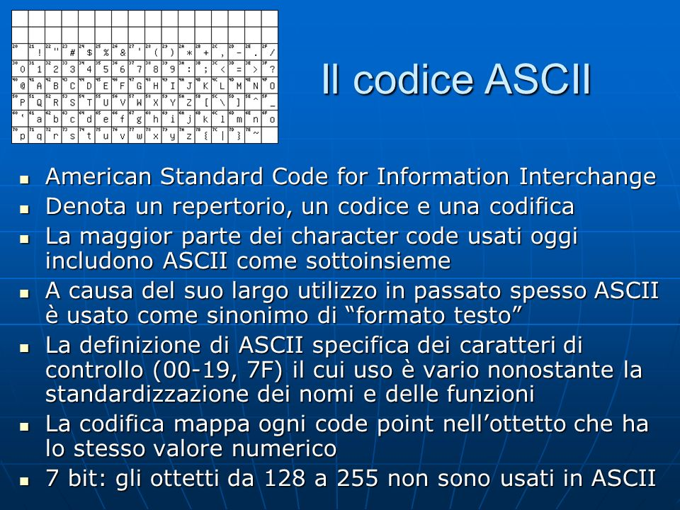 Il codice ASCII American Standard Code for Information Interchange