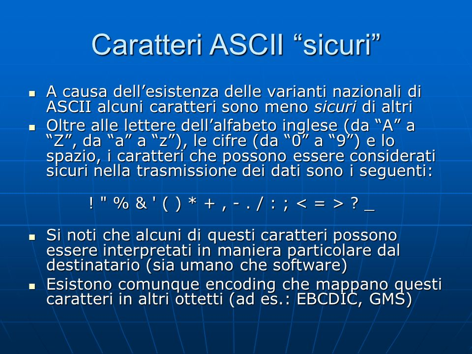 Caratteri ASCII sicuri