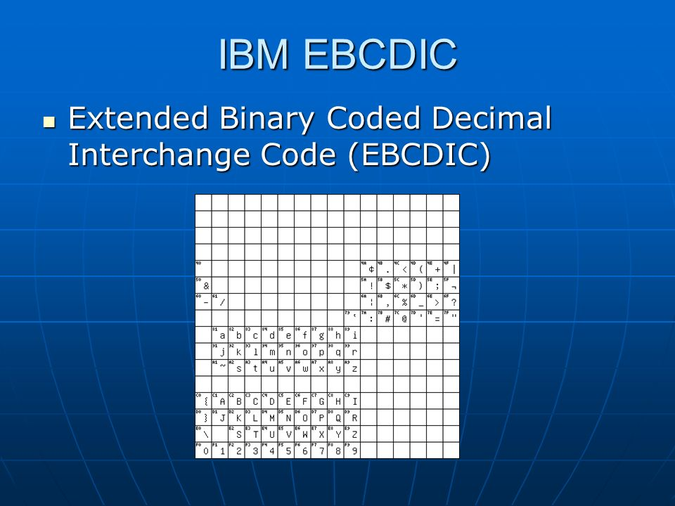 IBM EBCDIC Extended Binary Coded Decimal Interchange Code (EBCDIC)