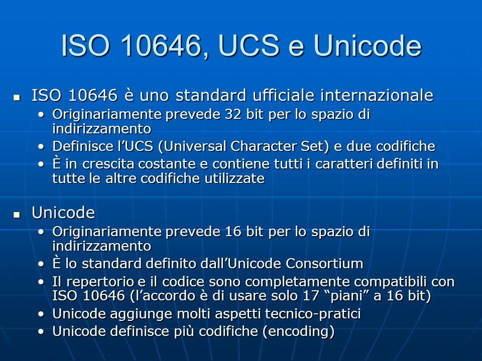 ISO 10646, UCS e Unicode ISO 10646 è uno standard ufficiale internazionale. Originariamente prevede 32 bit per lo spazio di indirizzamento.