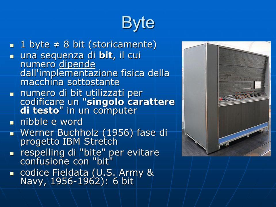 Byte 1 byte ≠ 8 bit (storicamente)