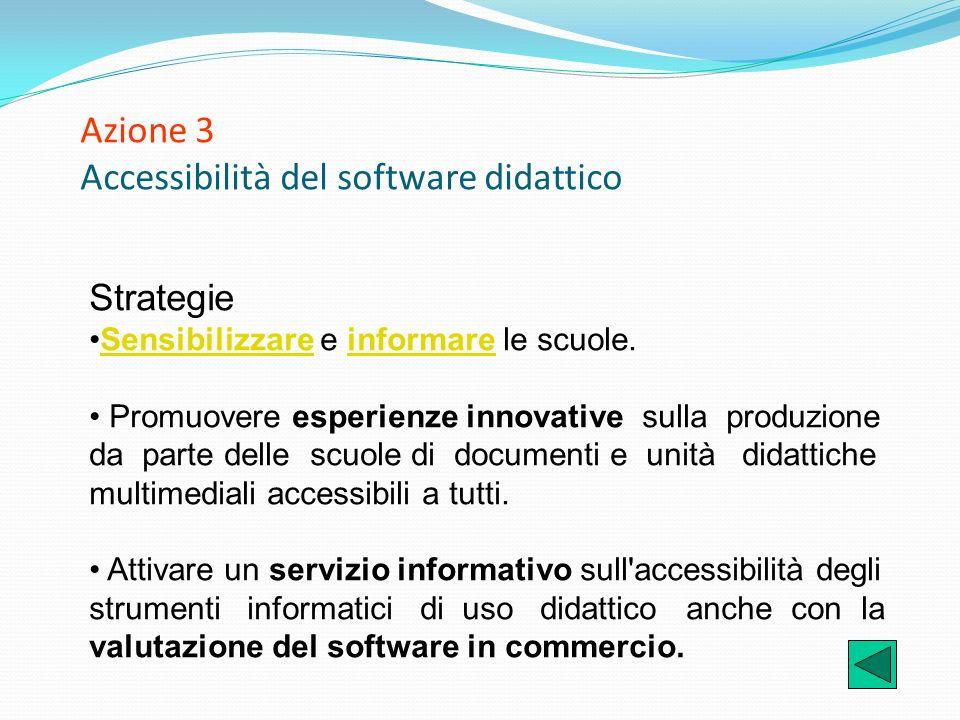 Azione 3 Accessibilità del software didattico