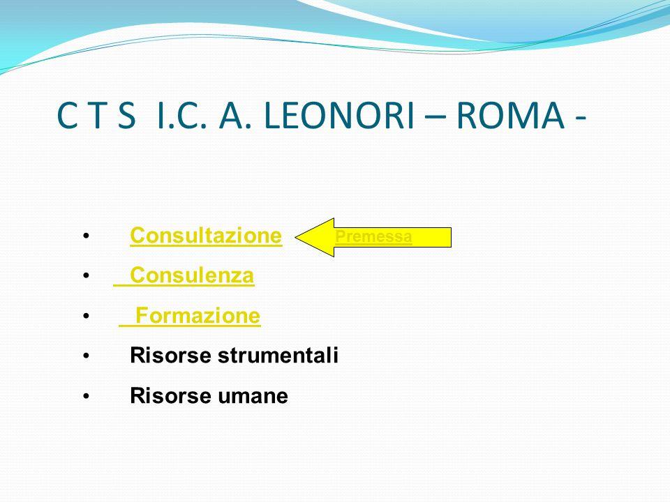 C T S I.C. A. LEONORI – ROMA - Consultazione Consulenza Formazione