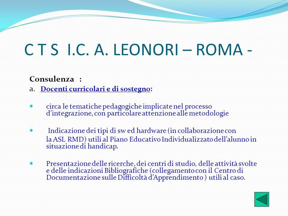 C T S I.C. A. LEONORI – ROMA - Consulenza :
