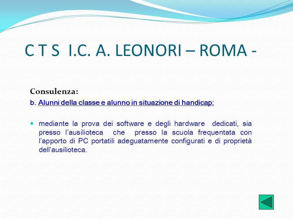 C T S I.C. A. LEONORI – ROMA - Consulenza: