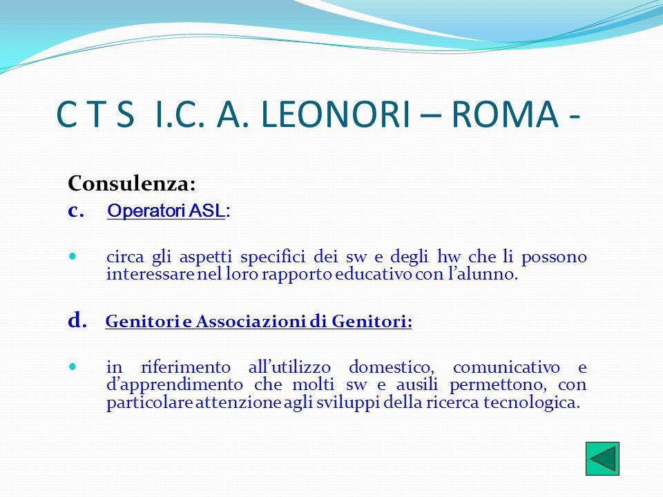 C T S I.C. A. LEONORI – ROMA - Consulenza: c. Operatori ASL: