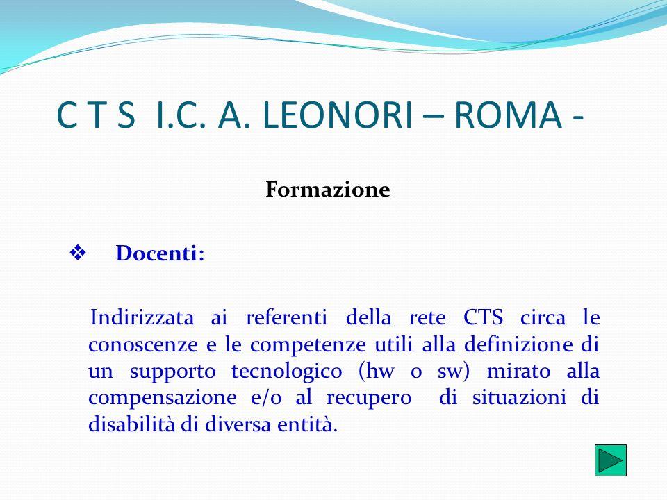 C T S I.C. A. LEONORI – ROMA - Formazione v Docenti: