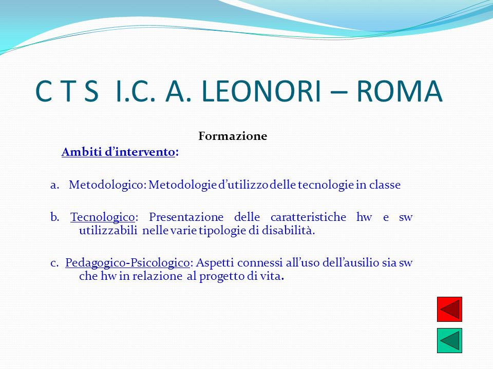 C T S I.C. A. LEONORI – ROMA Formazione Ambiti d'intervento: