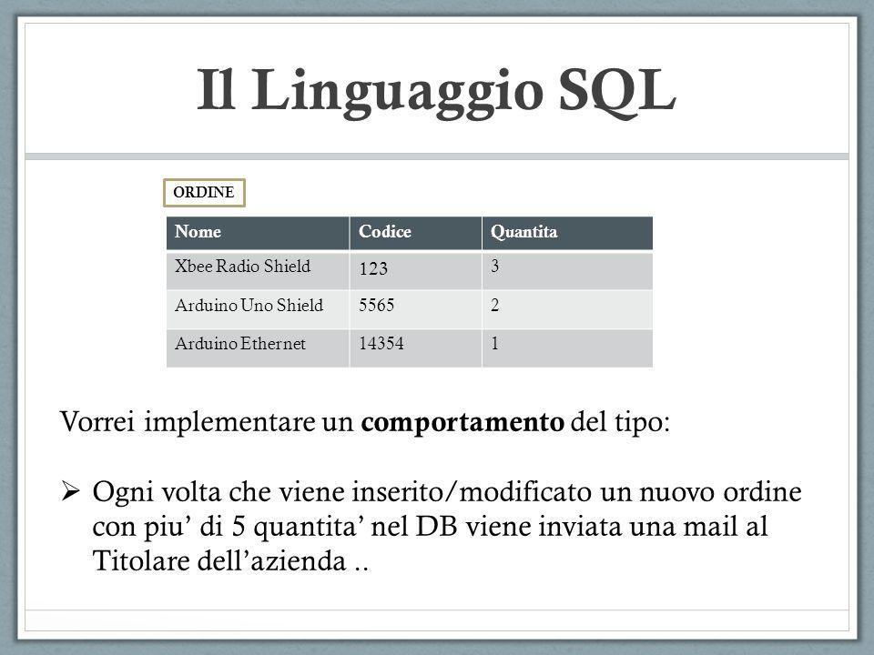 Il Linguaggio SQL Vorrei implementare un comportamento del tipo: