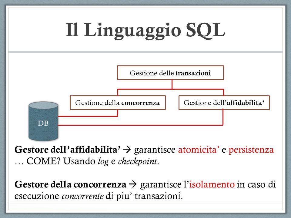 Il Linguaggio SQL Gestione delle transazioni. Gestione della concorrenza. Gestione dell'affidabilita'