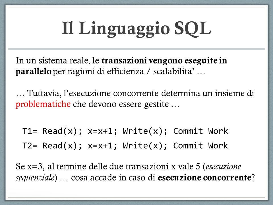 Il Linguaggio SQL In un sistema reale, le transazioni vengono eseguite in parallelo per ragioni di efficienza / scalabilita' …