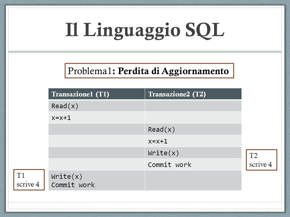 Il Linguaggio SQL Problema1: Perdita di Aggiornamento