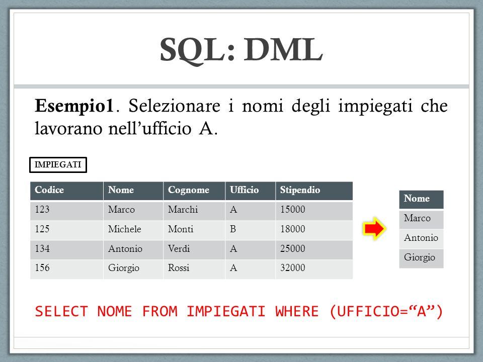 SQL: DML Esempio1. Selezionare i nomi degli impiegati che lavorano nell'ufficio A. IMPIEGATI. Codice.