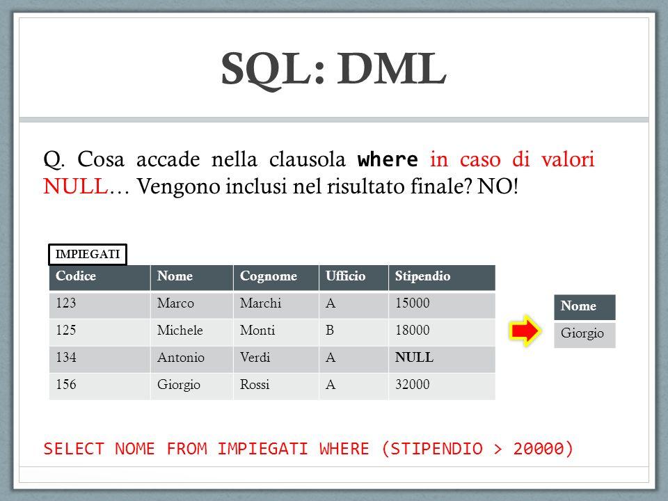 SQL: DML Q. Cosa accade nella clausola where in caso di valori NULL… Vengono inclusi nel risultato finale NO!