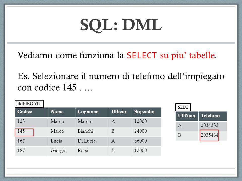SQL: DML Vediamo come funziona la SELECT su piu' tabelle.