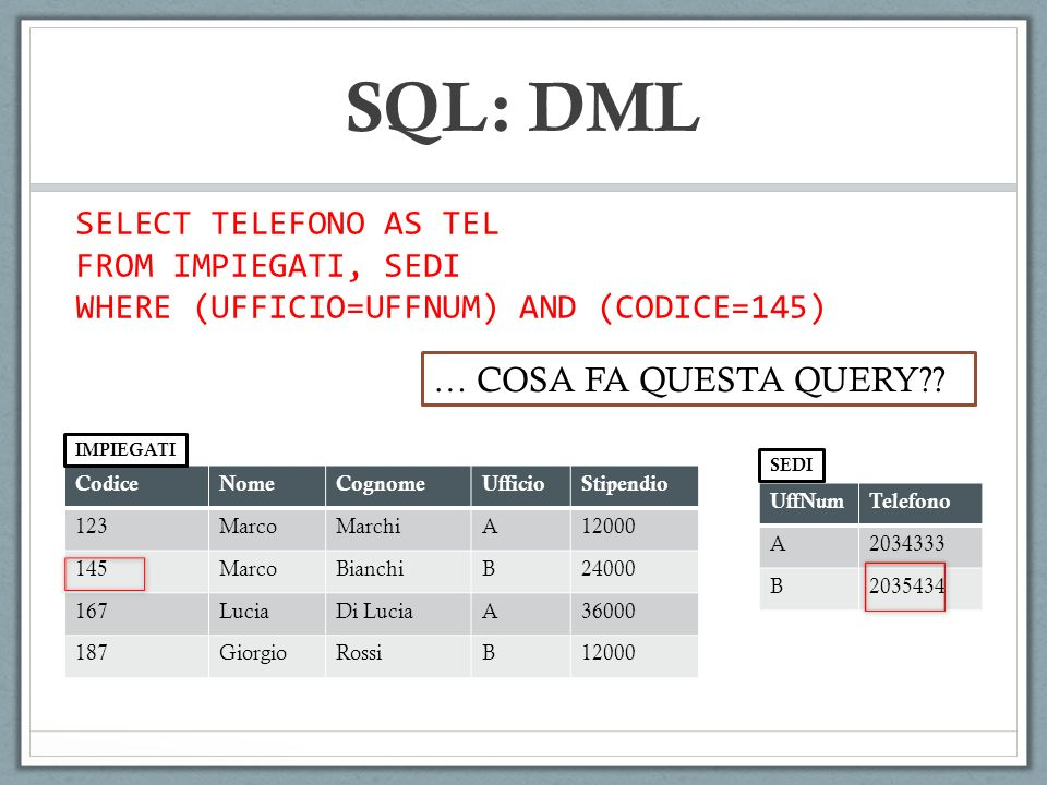 SQL: DML SELECT TELEFONO AS TEL FROM IMPIEGATI, SEDI