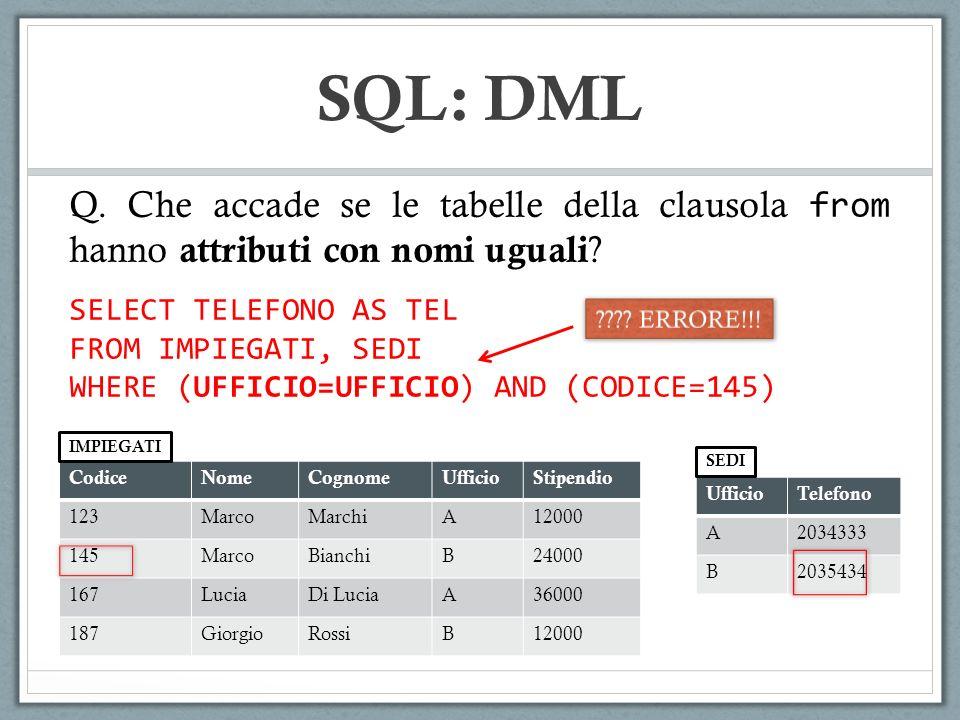 SQL: DML Q. Che accade se le tabelle della clausola from hanno attributi con nomi uguali SELECT TELEFONO AS TEL.