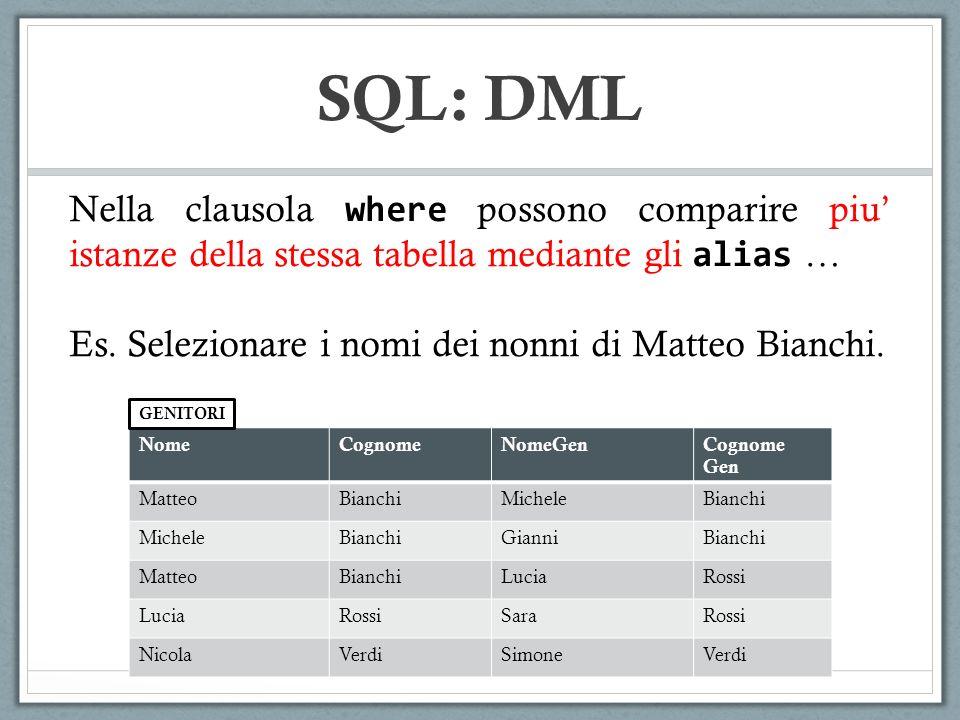 SQL: DML Nella clausola where possono comparire piu' istanze della stessa tabella mediante gli alias …