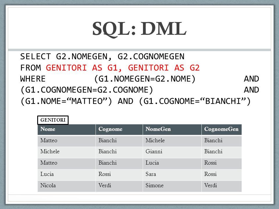 SQL: DML SELECT G2.NOMEGEN, G2.COGNOMEGEN