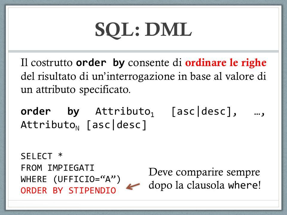 SQL: DML Il costrutto order by consente di ordinare le righe del risultato di un'interrogazione in base al valore di un attributo specificato.