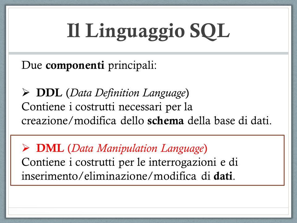 Il Linguaggio SQL Due componenti principali: