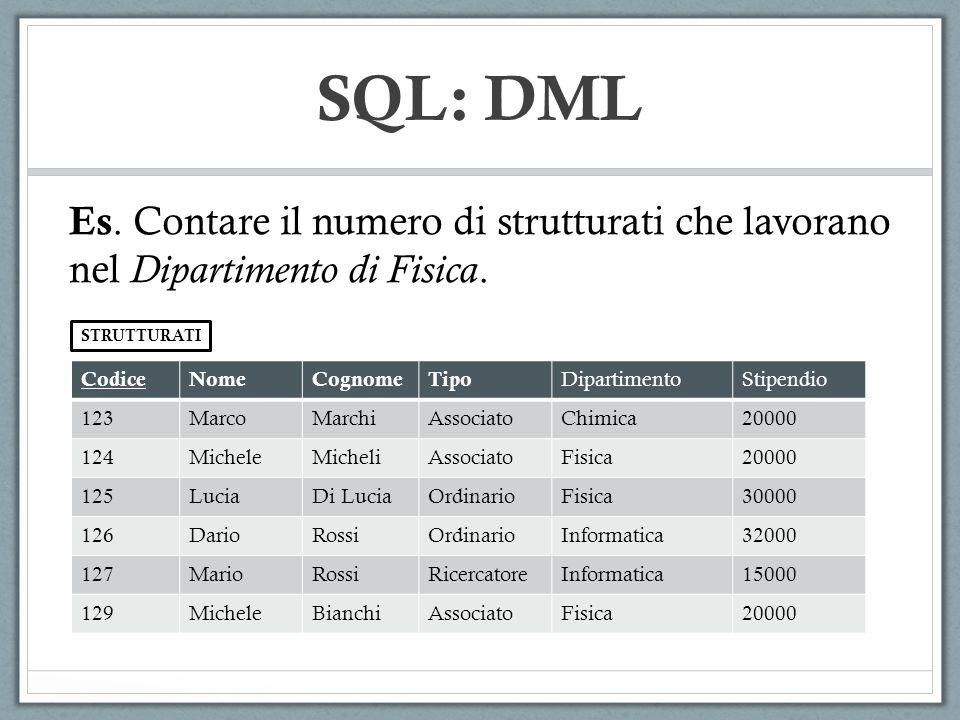 SQL: DML Es. Contare il numero di strutturati che lavorano nel Dipartimento di Fisica. STRUTTURATI.