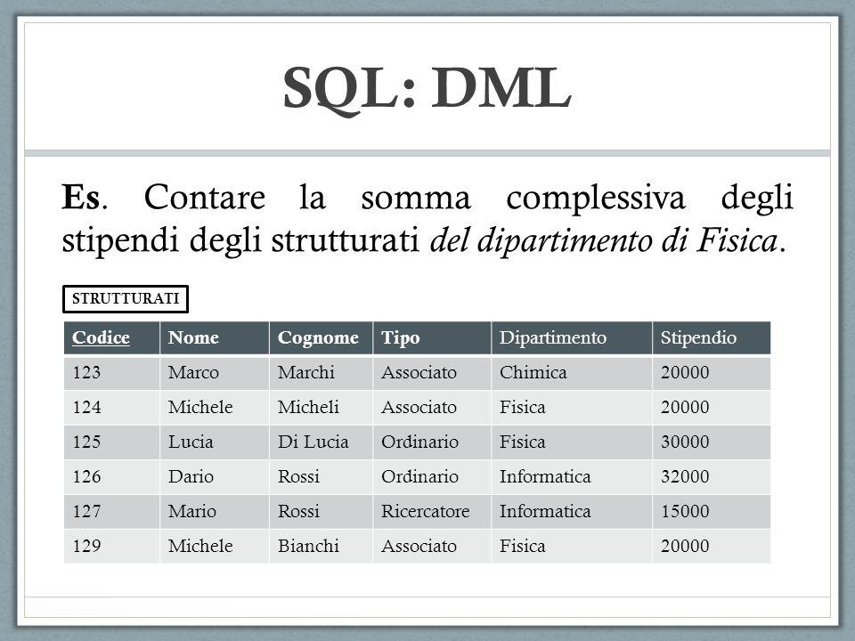 SQL: DML Es. Contare la somma complessiva degli stipendi degli strutturati del dipartimento di Fisica.