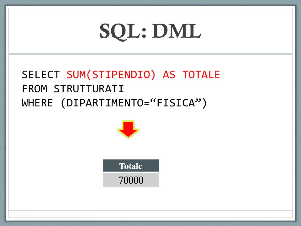 SQL: DML SELECT SUM(STIPENDIO) AS TOTALE FROM STRUTTURATI