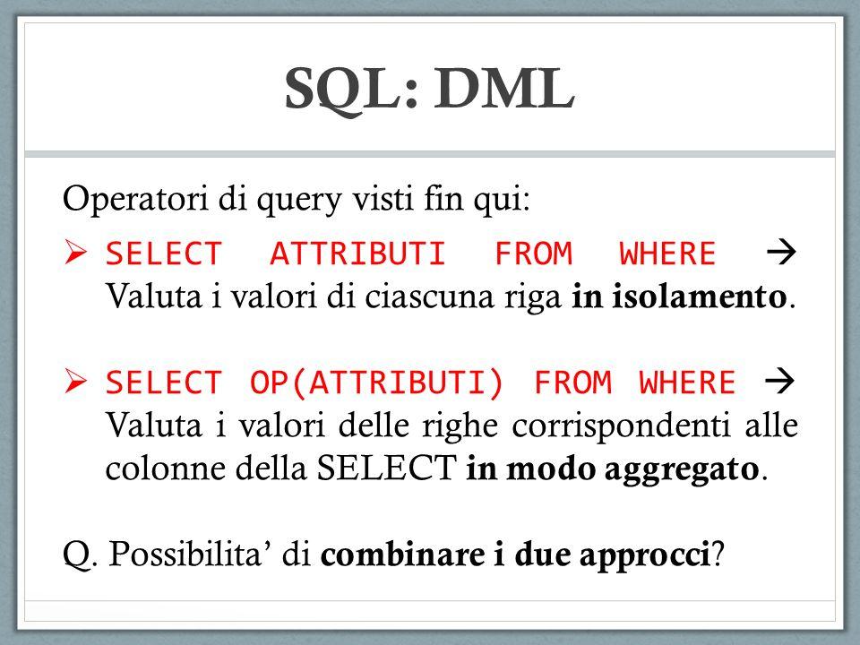 SQL: DML Operatori di query visti fin qui: