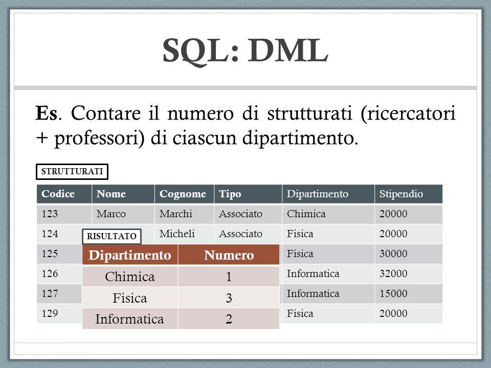 SQL: DML Es. Contare il numero di strutturati (ricercatori + professori) di ciascun dipartimento. STRUTTURATI.